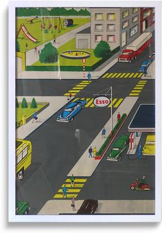 Rare 1950s promotional 'road safety' poster, Esso (6 of 6)