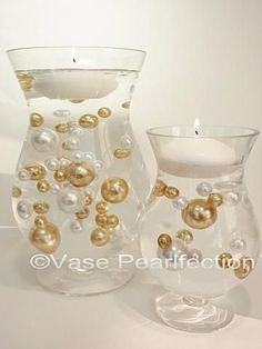 gold and white pearls vase fillers