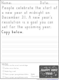 new year handwriting practice from http://yourtherapysource.com/freenewyearhw.html