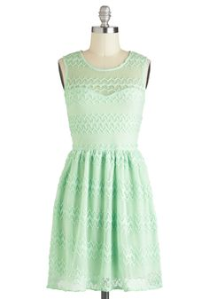 It's Only Mint Believe Dress - Solid, Lace, A-line, Sleeveless, Sheer, Short, Mint, Pastel, Casual, Spring