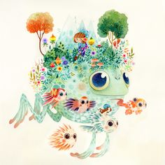 Fantastical Flora & Fauna - Aqua on Behance by Lorena Alvarez Gomez