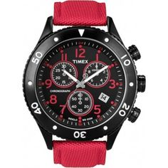 Timex Men's STYLE T2N087 Red Nylon Quartz Watch with Black Dial -- See this great product.