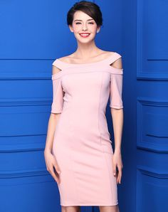 #VIPme Pink Off Shoulder Half Sleeve Sheath Knee Length Dress ❤️ Get more outfit ideas and style inspiration from fashion designers at VIPme.com.
