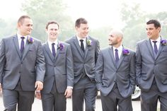 Handsome groomsmen - grey Vera Wang suits, purple ties for the men, black for the groom. Black Tie Wedding, Purple Wedding, Wedding Suits, Wedding Colors, Fall Wedding, Rustic Wedding, Our Wedding, Groomsmen Colours, Groom And Groomsmen