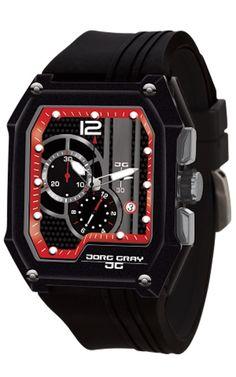 Jorg Gray JG7100-21 Men's Watch Black With Red Dial Chronograph Rectangular Case