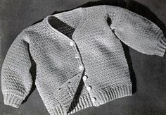 Baby Sweater No. 5310 crochet pattern from Woolies for Babies, originally published by Spool Cotton Co, Book No. 224, in 1945.