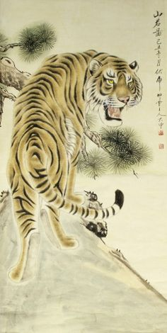 JP: Chinese Scroll Painting of Tiger, Da Zhong
