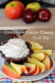 After School Snack: Cinnamon Cream Cheese Dip. 4 ingredients! 9/27/12 -- The kids SAY it has too much cinnamon, but they eat it up anyway. Will definitely keep making. ~tlh