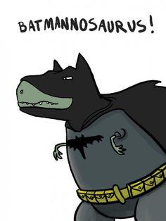 Batman + Dinosaur = Batmannosaurus Dinosaur Wallpaper, Dinosaur Funny, Im Batman, Arte Pop, Cute Illustration, T Rex, Pattern Wallpaper, Funny Cute, Cute Wallpapers