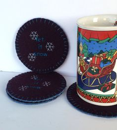 Let it Snow wool coaster set mug rug  upcycled by SewFreshAgain
