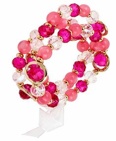 Haskell Gold-Tone Fuchsia Faceted Bead Stretch Bracelet Set