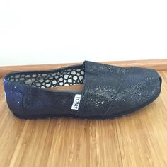 Toms, black sparkly shoes Black sparkly Tom shoes. Hardly worn! TOMS Shoes Flats & Loafers