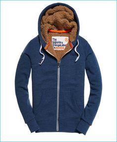 Superdry Orange Label Heavy Zip Blue Hoodie