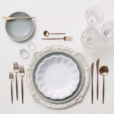Antique White Florentine Chargers + Heath Ceramics in Mist/Signature Collection soup bowl + Rose Gold Flatware + Vintage Cut Crystal/Coupe Trios + Antique Crystal Salt Cellars   Casa de Perrin Design Presentation