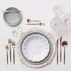 Antique White Florentine Chargers + Heath Ceramics in Mist/Signature Collection soup bowl + Rose Gold Flatware + Vintage Cut Crystal/Coupe Trios + Antique Crystal Salt Cellars | Casa de Perrin Design Presentation