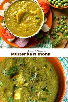 Nimona from Eastern Uttar Pradesh - seasonal green peas pureed and cooked with potato & onion tomato and spices gravy into a dhal like dish. via @sujatashukla