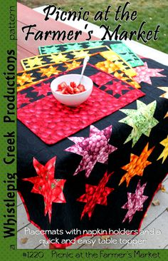 Create table toppers and easy accessories by Sue marsh of Whistlepig Creek Productions. fabrics from Farmer's Market, our line of realistic fruits & veggies.