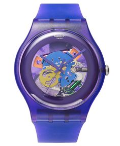 Swatch Watch, Unisex Swiss Purple Lacquered Purple Silicone Strap 41mm SUOV100 - Swatch - Jewelry & Watches - Macy's