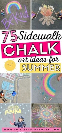 Here are fun sidewalk chalk art ideas for kids. These creative chalk art ideas are a great way to enjoy spring and summer days outdoors! Spring Projects, Art Projects, Fun Ideas, Craft Ideas, Fun Activities For Toddlers, Sidewalk Chalk Art, Christmas Tree Cards, Summer Diy, Outdoor Play