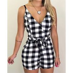 Spaghetti Strap Grid Belted Romper – bodyconest outfit romper,romper and tights,romper casual Trend Fashion, Womens Fashion, Jugend Mode Outfits, Summer Outfits, Casual Outfits, Rompers Women, Mode Style, Playsuits, Jumpsuits