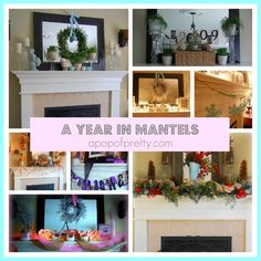 This blog post covers a year of seasonally decorated mantels (in 2011): see how one mantel transformed from January to December: including a Winter Mantel, Valentines Mantel, Spring/Easter Mantel, Summer Mantel, Fall Mantel, Halloween Mantel, and Christmas Mantel.  From A Pop of Pretty, apopofpretty.com