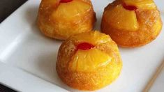 Pineapple Upside-Down Cupcakes .turn the sweet and classic taste of a pineapple upside-down cake into a cute cupcake! Learn to make this recipe with our how-to article. Cupcake Recipes, Cupcake Cakes, Dessert Recipes, Dessert Tray, Cup Cakes, Mini Cakes, Fruit Cakes, Baby Cakes, Bundt Cakes