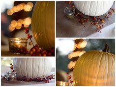 Fall Wedding Series #3 - Pumpkins, Burlap and Mason Jars ~ Create. Share. Repeat!  Painted White Pumpkin Centerpiece