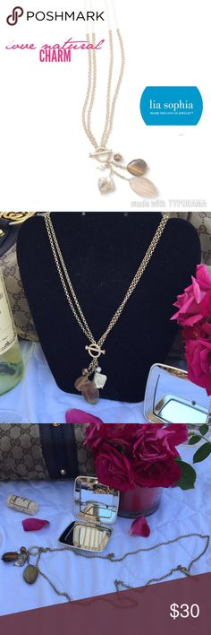 "LIA SOPHIA Collection, NATURAL CHARM Toggle LIA SOPHIA Collection, NATURAL CHARM Toggle.  Gold with an array of cream to golden brown stones.  Can be worn SHORT or LONG. Size: 33"" (long) 16""(short) plus pendent Lia Sophia Jewelry Necklaces"