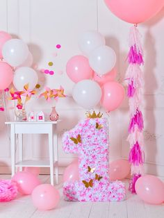Birthday Party Background Balloons Backdrop Pink Backdrops J04958
