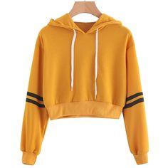 Women Varsity-Striped Drawstring Crop Hoodie Sweatshirt Jumper Crop Pullover Tops Moletom Feminino Com Capuz Crop Top Hoodie, Crop Pullover, Cropped Hoodie, Crop Top Sweater, Hooded Sweater, Cable Sweater, Cropped Top, Hoodie Sweatshirts, Cute Sweatshirts For Girls