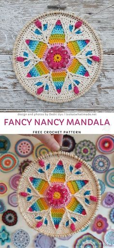 Beautiful Decorative Mandalas For Your Home. This amazing, intricate mandala is such a great tribute to spring! It's so full of colors and joy! You can hang it in your window or anywhere else in your home, it will beautifully embellish your home decor. Crochet Feather, Crochet Fall, Crochet Home, Free Crochet, Crochet Mandala Pattern, Crochet Patterns Amigurumi, Rainbow Crochet, Fancy Nancy, Crochet Patterns For Beginners