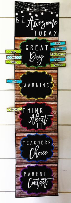 "My newest farmhouse classroom decor is rich with charm! It is full of galvanized metal, shiplap, wood grains, chalkboards, and a little green and teal to liven it up! It is sure to give you the PERFECT ""home away from home."" This clip down behavior chart is perfect for keeping your students on task. Students begin each day on green and clip down for misbehavior."