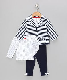 This sweet set serves as the meeting place for function and form. A darling print convenes with easy fixtures such as buttons, snaps and elastic for a premium look and feel that is wholly excellent. Little Girl Fashion, Kids Fashion, Baby Princess, Princess Charlotte, Striped Jacket, Niece And Nephew, Cute Outfits For Kids, Navy Stripes, Meeting Place