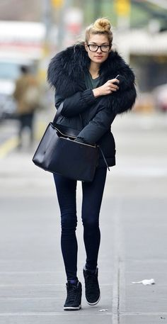 Fluffy Coat + Large Tote