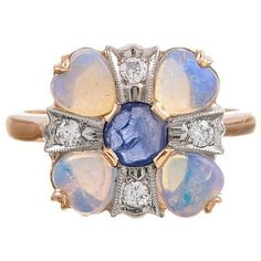 Preowned Circa 1930s American Made Opal Sapphire Diamond Gold Ring (2,625 CAD) ❤ liked on Polyvore featuring jewelry, rings, blue, vintage diamond rings, gold rings, blue sapphire ring, vintage rings and gold opal ring
