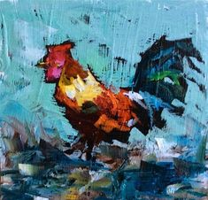 """Daily Paintworks - """"Just a Rooster in Paradise"""" - Original Fine Art for Sale - © Marcia Hodges"""