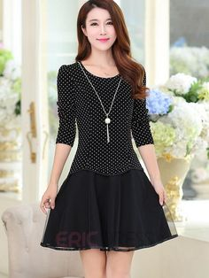 Ericdress Polka Dots Patchwork Long Sleeve Casual Dress Casual Dresses