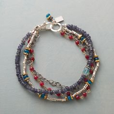 Matched And Mixed Bracelet: Iolite, rubies and apatite mingle with elements of sterling silver, vermeil and brass, making a statement with four entirely unique strands. Sundance exclusive handmade in USA. Gemstone Bracelets, Silver Bracelets, Handmade Bracelets, Jewelry Bracelets, Jewelery, Handmade Jewelry, Strand Bracelet, Bracelet Watch, Seed Bead Jewelry