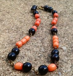 """23"""" Amber, Coral, and Natural Dark Brown Buri Seed Bead Organic Necklace with Free Shipping @ EvezBeadz.artfire.com"""