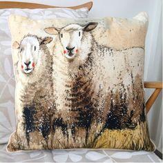 Alex Clark companions cushion, features a Alex Clark Sheep design artwork on a piped rim cushion. The decorative cushion will look fantastic in any farmhouse. Sheep And Lamb, Decorative Cushions, Jute, Home Accessories, Moose Art, Presents, Throw Pillows, Classic, Artwork
