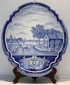 Antique-Delft-Art-Pottery-Large-Oval-Plaque-w-Hand-Painted-Landscape-No-Reserve