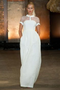 illusion blouse under a strapless dress // Christian Siriano