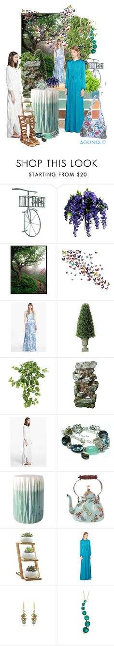"""""""Maxi dresses"""" by agonia ❤ liked on Polyvore featuring MANGO, Improvements, Nearly Natural, Surya, MacKenzie-Childs and Lab"""