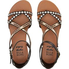 Billabong Women's Golden Tidez Sandals ($50) ❤ liked on Polyvore featuring shoes, sandals, flat sandals, flats, footwear, off black, black flat sandals, black flats, black ankle strap sandals and ankle strap sandals