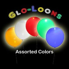 "12"" Glo-Loons (5 pack Assorted Colors)    Light up your next party with these fantastic Assorted Color Glow Balloons"