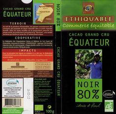 tablette de chocolat noir dégustation ethiquable cacao grand cru equateur noir 80