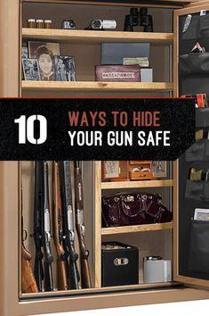 Gun Storage - How to Hide Your Gun Safe - List Of Safest Cabinet for Firearms Secret Gun Storage, Hidden Gun Storage, Weapon Storage, Safe Storage, Storage Ideas, Ammo Storage, Storage Room, Hidden Gun Safe, Gun Safe Diy