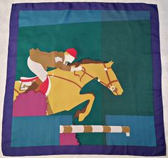 Vintage Authentic Gucci Jumping Horse Green Blue by scarvesart