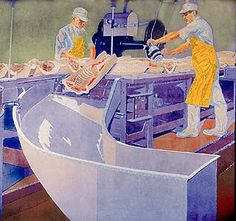 """By 1931, Chicago had eclipsed Cincinnati as hog butcher to the world. Nevertheless, meatpacking still was big business in the Queen City. W Reiss took photos that year of butchers at the E. Kahn's & Sons Co. plant in Camp Washington for his mural celebrating the city's Porkopolis past. Founded in 1882, Kahn's """"wiener the world awaited"""" still reigns as the official hot dog of the Cincinnati Reds. It now stands in the closed Terminal 1 at CVG Airport."""