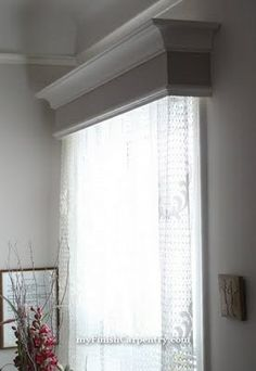 DIY valence window box. In the living room to frame the curtains at the sliding & Conceal a curtain rod inside this decorative wooden cornice for ...